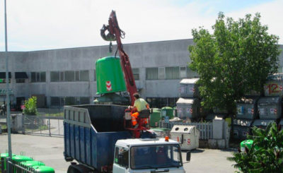 Glass Waste Big Container Truck Emptying | ASSOPLAST